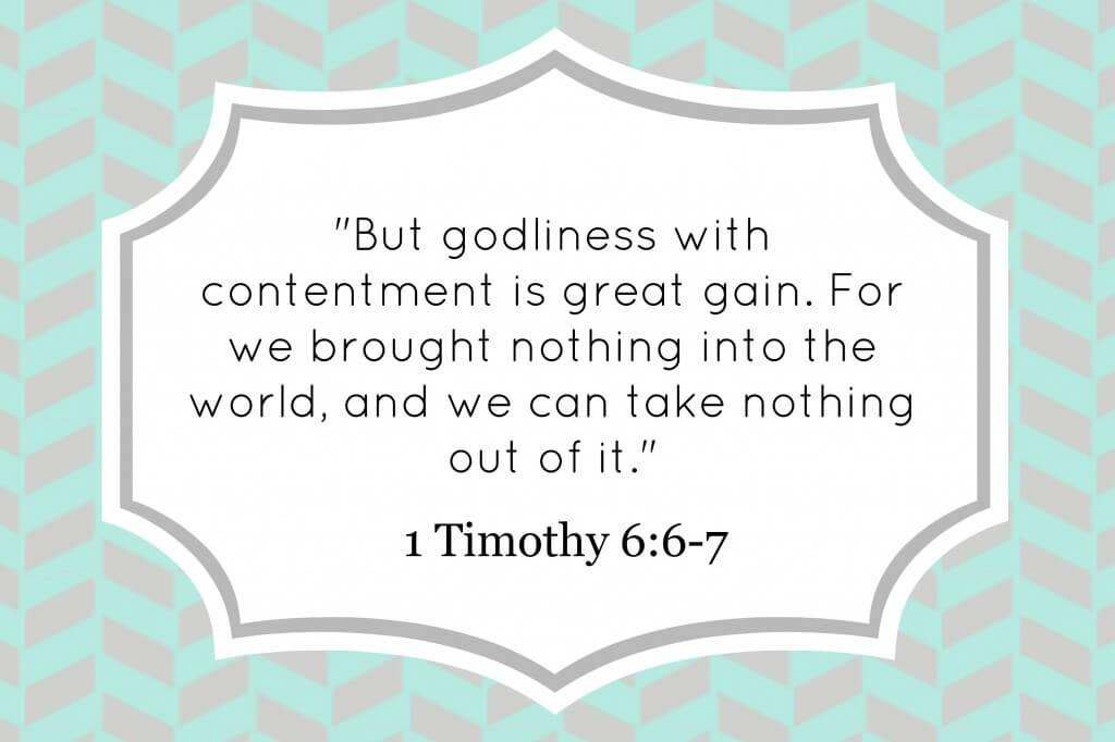 1 Timothy 6:6-7 decorative verse card