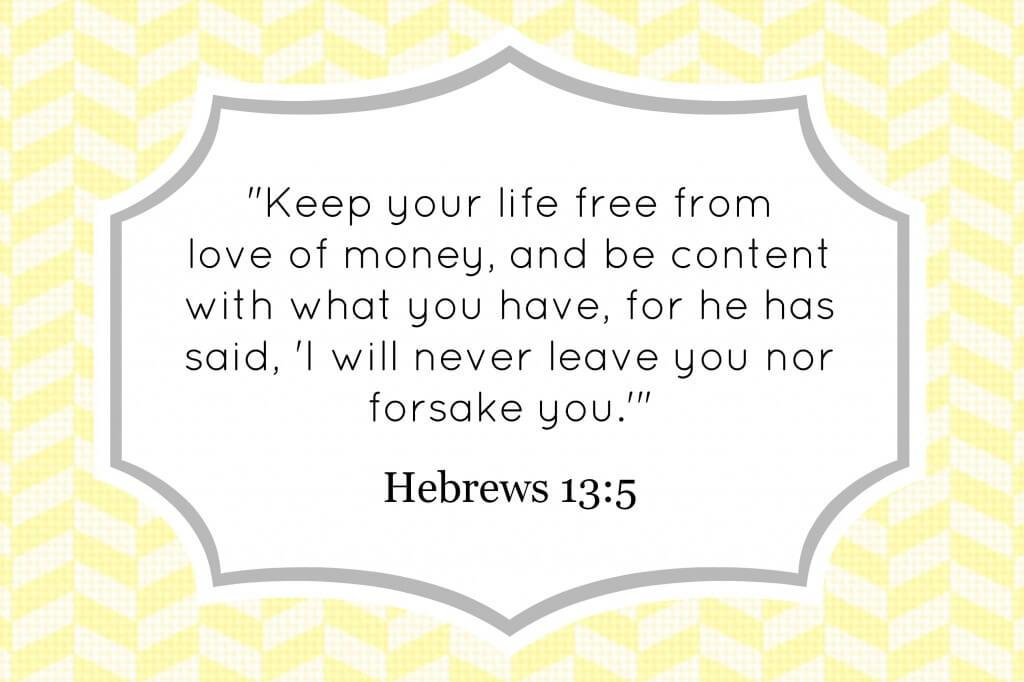 Hebrews 13:5 decorative verse card