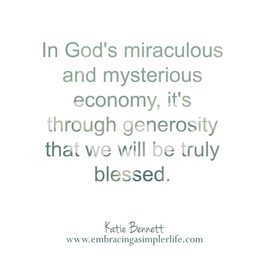 in God's miraculous economy