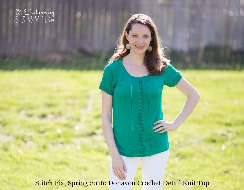 Stitch Fix Spring 2016 Donavon Crochet Detail Knit Top